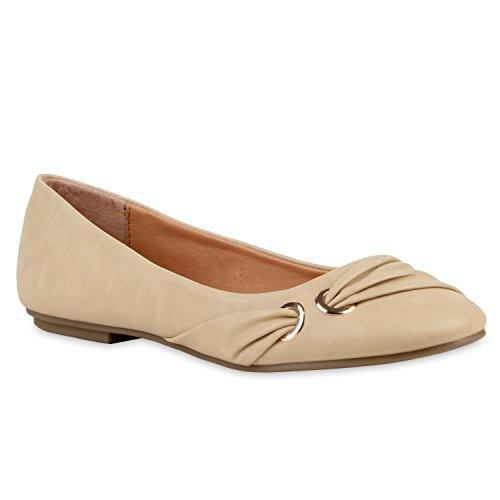 Klassische Damen Ballerinas Lederoptik Flats Freizeit Schuhe Übergrößen Creme