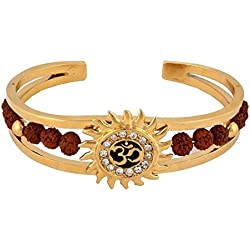 Grandiose TM. Light Brown Rudraksh American Diamond Gold Meena Om Sun Cuff Kada Bracelet for Men