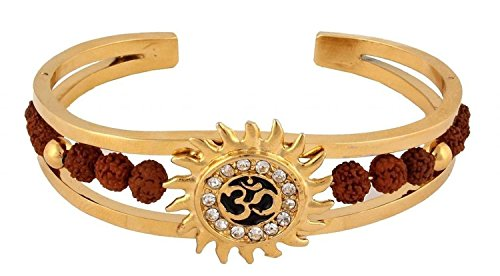 Grandiose TM. Light Brown Rudraksh American Diamond Gold Meena Om Sun Cuff...