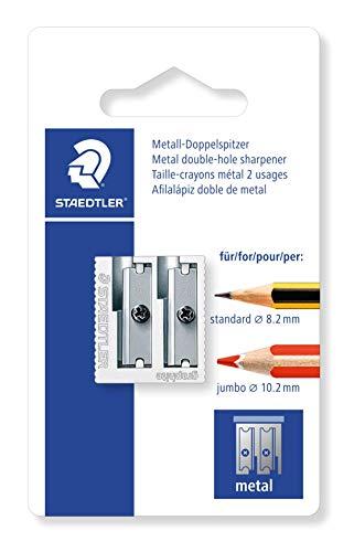 Staedtler 510 20 BK Metall Doppelspitzer, 1 Stück auf Blisterkarte, silberfarben