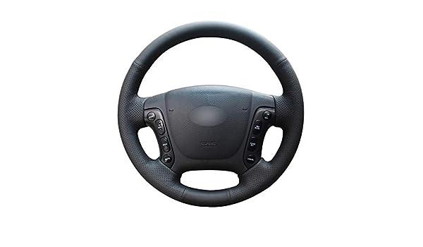 pour Hyundai Santa Fe 2007-2012 Noir PU Cuir Artificiel Housse de Volant de Voiture-Fil Noir Seven Continents Housse de Volant antid/érapante