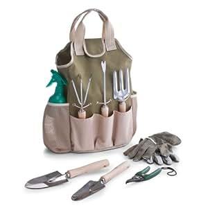 Zeller 16001 ensemble d'outils de jardinage, 9 pièces avec pochette en poyester/métal/bois, 28 x 18 x 41 cm