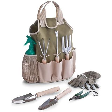 Zeller 16001 - Set de accesorios para jardín (incluye bolsa, 9 piezas, poliéster, metal y madera, 28 x 18 x 41cm) [Importado de