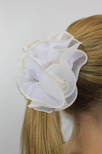 Edelweiß: Chouchou blanc chic fixé sur pince papillon Z023
