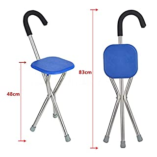 Multi-Function Aluminium Walking Stick with Chair Blue Color