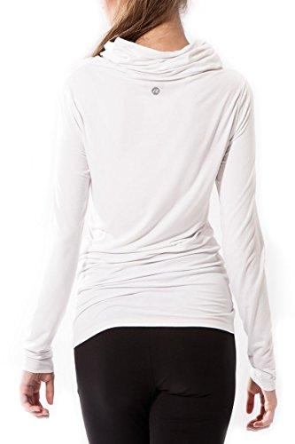 Donne fitness camicia, con cappuccio bhakti sternitz, ideale per pilates, yoga e qualsiasi sport, tessuto di bambù, ecologico e morbido. collo lungo. (medium, bianco)