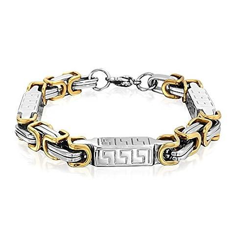 Bling Jewelry 8MM Stainless griechischen Schlüssel Link Mens byzantinischen Armband
