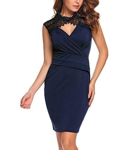 ACEVOG Damen Vintage Rockabilly Kleid Etuikleid Rundhals Sommer Ärmellos Business Kleid Spitze Bleistiftkleid Navy Blau