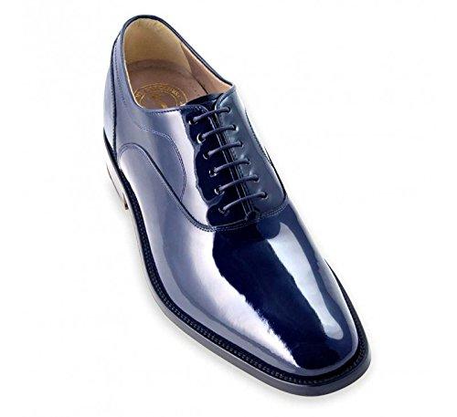 Scarpe con rialzo per uomo che aumentano l'altezza fino a 7 cm. fabbricate in pelle. modello charol blu 42