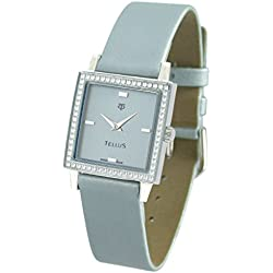 Tellus - Vintage - Luxury Women's watch with Turquoise dial, Turquoise strap in Genuine calf leather, Swiss Made - T5067DI-003