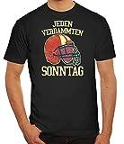 American Football Gruppen Fan Herren Männer T-Shirt Rundhals Jeden Verdammten Sonntag 2, Größe: XL,schwarz