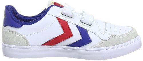 hummel STADIL JR. VELCRO LOW 63-675-9228, Sneaker unisex bambino Bianco (White/Blue/Red/Gum)
