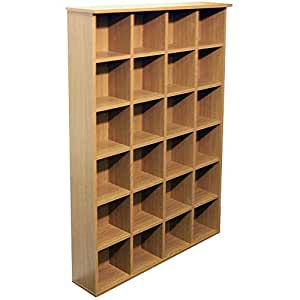 Pigeon hole cd dvd blu ray media storage shelves oak - Estanterias para cds ...