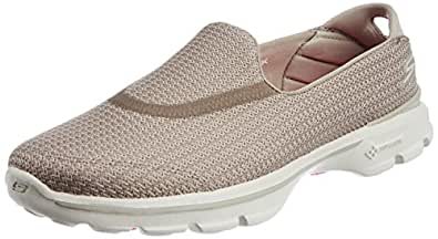 Skechers Women's GOwalk 3 Low Top Sneakers - Beige (Stn), 2 UK