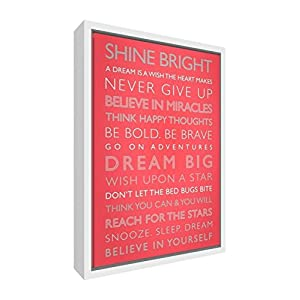 Feel Good Art Giclée Printed Canvas with Solid White Wooden Frame Surround &ltDream Big&gt, 95 x 64 x 3cm (X-Large), Wood Coral, 95 x 64 cm