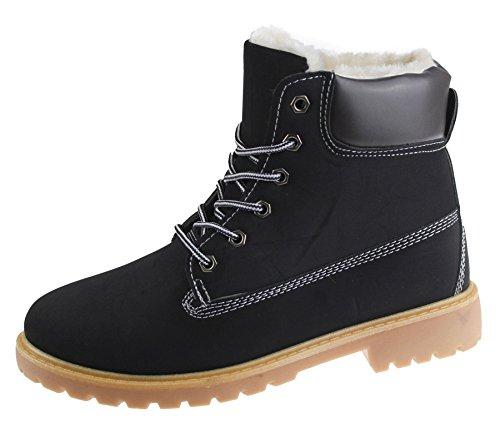 Damen Fell Gefütterte Winter Warm Boots Combat Wandern Arbeit High Top Knöchel Schuhe Größe Black With Camel Sole