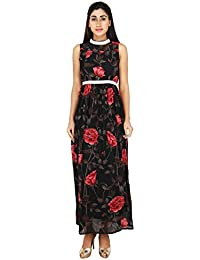 LondonHouze Embellished Printed Maxi Dress Black