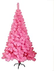 6ft Pink Christmas Tree 700 Tips Bushy PVC Artificial Christmas Tree With Metal Stand,Indoor Outdoor Holiday X