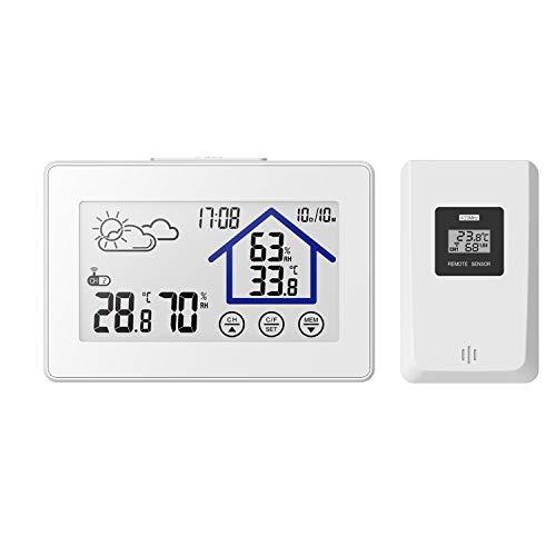 Wetterstation, kabellos, mit Außensensor, Temperaturanzeige, Kalender, LCD-Display, Touchscreen, für Zuhause
