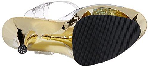 Pleaser MOON-708DMCH Damen Plateau High Heels Clr/Gold Chrome