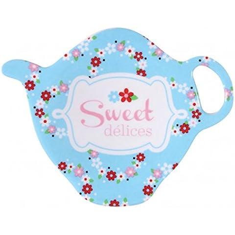 Poggia la bustina del tè, motivo: Sweet, motivo: delizie Derrière la Porte, blu, Hauteur 1.5 Largeur 9.5 Profondeur 7.2