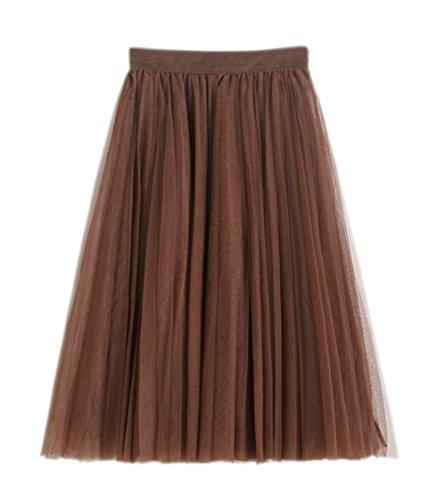 Honeystore Damen's Unterrock 50er Retro Tüllrock Tutu Petticoat Tanzkleid Kaffeebraun One Size