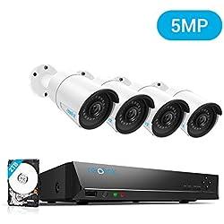 Reolink 8 Canaux 5MP Kit Caméra Surveillance PoE avec 4X Caméras IP PoE Extérieur Infrarouge Vision Nocturne Système de Vidéo Surveillance PoE pour la Maison l'Entreprise RLK8-410B4 (8CH 5MP 2TB HDD)