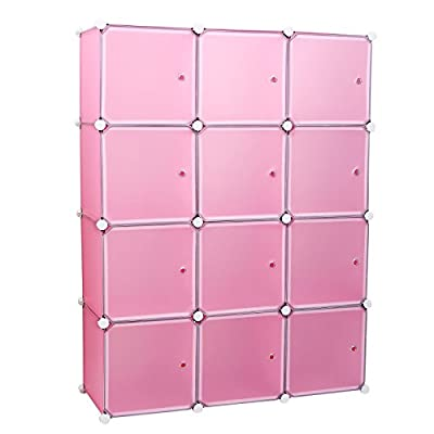 Songmics Creative Plastic Closet Wardrobe Bedroom Furniture Interlocking Cube Box Cabinet Storage Organiser with Doors Gray/White/Pink/Blue LPC34 produced by Songmics - quick delivery from UK.
