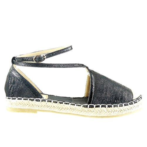Angkorly Damen Schuhe Espadrilles Sandalen - Offen - Schlangenhaut - Multi-Zaum - Seil Blockabsatz 2 cm Schwarz