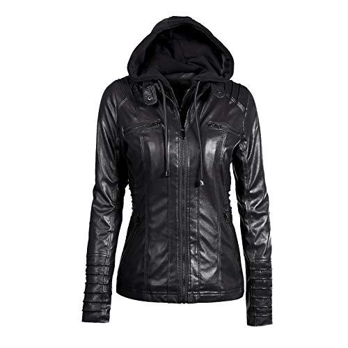 Moquite Damen Jacken Bikerjacke Faux Lederjacke Kurze Reißverschluss mit Kapuze Einfarbig Langarm Kapuzenmäntel