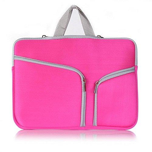 """Macbook Pro 13'' Neues Sleeve Laptoptasche 13 Zoll, TechCode® Laptophülle Aktentasche Handtasche Fit All 13"""" Ultrabook Laptop Notebook Macbook Air / Pro (13 inch, Hot pink)"""