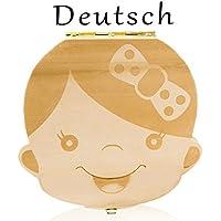 Leisial Nette Kinder Junge Mädchen Milch Zähne Holz Aufbewahrungs Souvenirbox Zahnkästchen Organizer für Baby Speichern in Deutsche Sprache Geschenk(Mädchen)