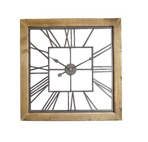 Wanduhr, rechteckig, römische Ziffern, Holz/Metall, Braun/Ingwer