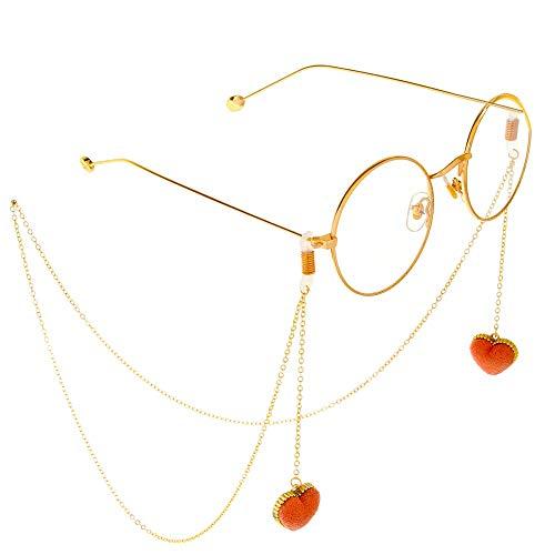 Kuingbhn-AC Glaskette rutschfeste Metall Brille Seil Herz Halter Spektakel Schnur Ketten Anhänger handgemachte Brille Kette Strap Anti-Rutsch-Brillenkette (Color : Gold)