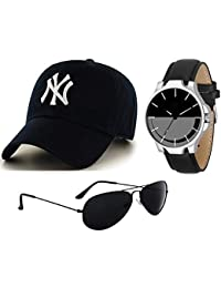 BID Summer Special Combo Black Sunglass Black Watch & Black Cap for Mens & Boys