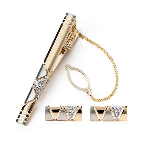 BagTu Two Tone Manschettenknöpfe und Krawattenklammer-Set mit Geschenkbox und Grußkarte, stilvollen goldenen Manschettenknöpfen und Krawattenklammer-Geschenkset für Herren