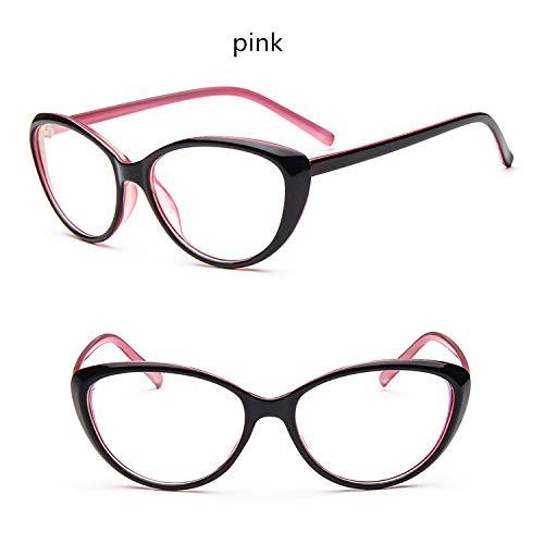 YMTP Vintage Männer Frauen Cat Eye Brillen Rahmen Anti-Müdigkeit Brille Spektakel Weiblich Männlich Oval Spiegel Brille Frames 8 Farbe, Rosa