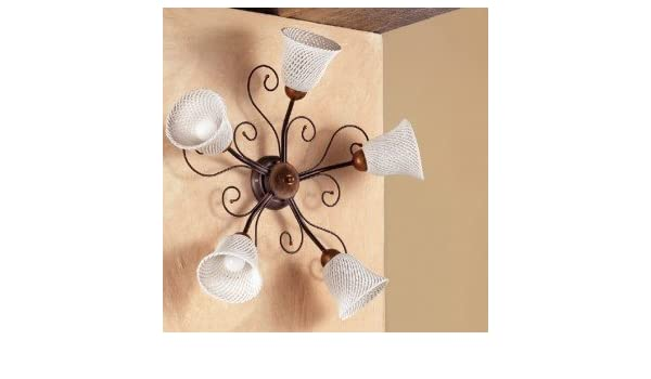 Applique wall lamp 5 lights with flat bell fix retro style and