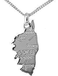 ensemble collier et pendentif CORSE en argent massif 925 avec chaine 50cm  et boite coffret prêt 23e66cb2b1b