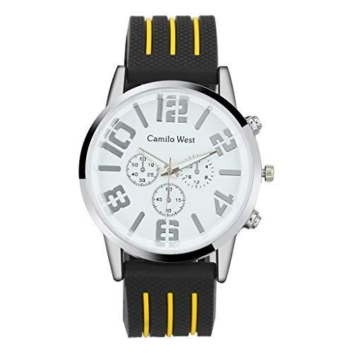 Armband für Herren/Skxinn Männer Silikon Uhrenarmband,Mode Outdoor Sportuhr,Drei-Augen-Zifferblatt Herrenuhr Ausverkauf(Gelb)
