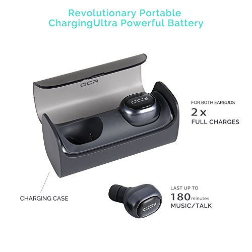 Wireless Earbuds, QCY Q29 Mini Dual V4.1 Bluetooth Stereo Headphones Handsfree with Mic 12 hour Portable Charging case &Noise Canceling for iPhone 7, SE, 6, 6 Plus, 6S, 6S Plus, 5, 5S, 5C, iPad, iPod, Smart phones (Dark Gray)