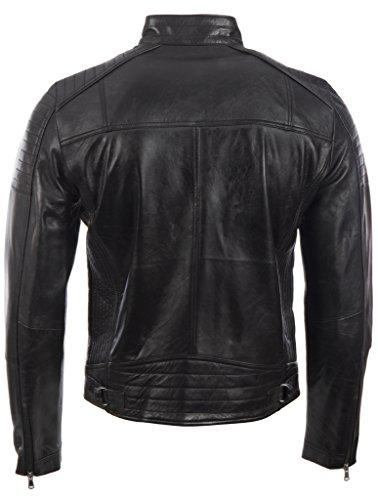 Herren-Bikerjacke von MDK aus 100 % superweichem Echtleder Seitenstich und Schulter Detail Schwarz