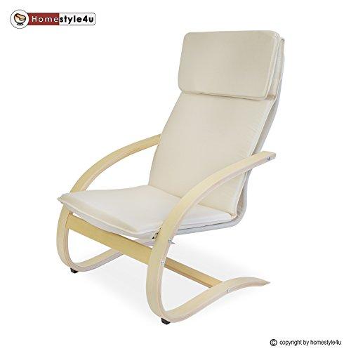 Homestyle4u Schwingsessel Freischwinger Sessel in natur Relaxsessel Schaukelstuhl Schwingstuhl