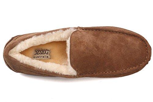 OZZEG hommes glisser sur cuir véritable occasionnels mocassins en peau de mouton mocassins chaussures Café