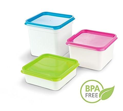 DBP Set de 10 Boîtes Alimentaires Congélation/Couvercle en Plastique Sans