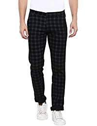 Urbano Fashion Men's Slim Fit Checkered Casual Chinos Pants with Stretch