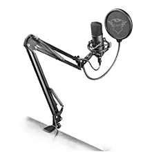 Trust Gaming GXT 252+ Emita Plus USB Gaming Microphone, Studio Condenser Microphone with Adjustable Arm for Podcast, Recording, Streaming - Black