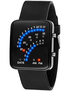 Tonsee Frauen Männer futuristisch japanischer Stil mehrfarbigen LED Sport Armbanduhr,schwarz