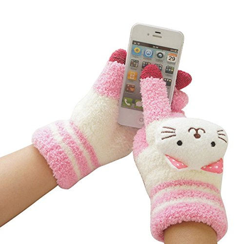 tininna Mode Damen Handschuhe Mädchen Wolle Touchscreen Sports Winter im Freien Handschuhe warme Thermo Finger Komplette Mitt Gloves one size Rose Chat