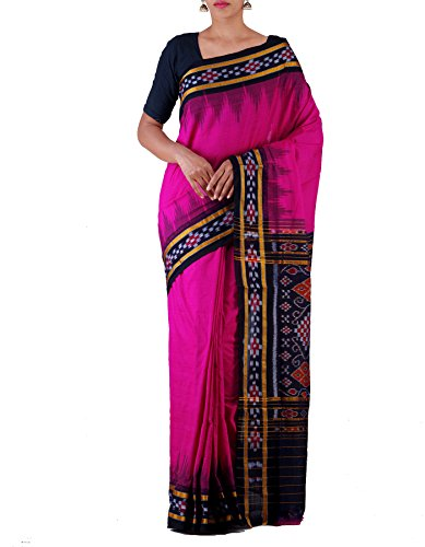 Unnati Silks Women Pink-Black Pure Handloom Sambalpuri Cotton Ikat Saree(UNM22051)
